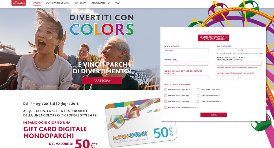 Concorso a premi Divertiti con Colors, acquista i prodotti promozionati Vileda e puoi vincere na Gift Card Digitale MondoParchi