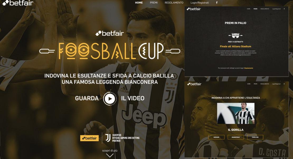 con il nuovo concorso a premi Betfair Foosball Cup si può vincere un pacchetto per l'incontro Juventus / Verona del 20 maggio 2018