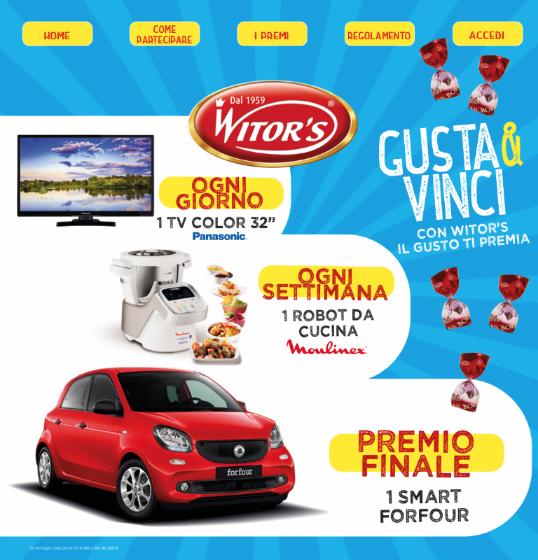 concorso Gusta e vinci con Witor's immagine premi in palio, TV Panasonic, robot Moulinex e Smart Forfour Rossa